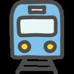 正面(前)から見た青い電車・鉄道のかわいい手書き風イラストアイコン