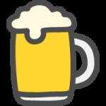 ジョッキに入った生ビールのかわいい手書き風イラストアイコン
