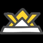 [端午の節句・こどもの日]黄色の折り紙兜(かぶと)のかわいい手書き風イラストアイコン