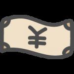 お札・紙幣(¥・円)のかわいい手書き風イラストアイコン