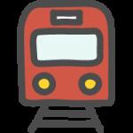 正面(前)から見た赤い電車・鉄道のかわいい手書き風イラストアイコン