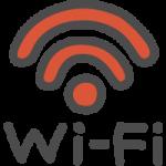 Wi-Fiの文字入りワイファイマークのかわいい手書き風イラストアイコン<赤色>