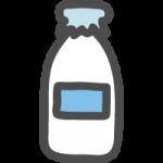 牛乳瓶のかわいい手書き風イラストアイコン