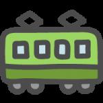 横から見た緑色の電車(鉄道)のかわいい手書き風イラストアイコン