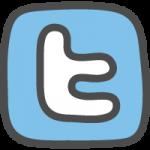 twitter(ツイッター)ロゴのかわいい手書き風イラストアイコン<アルファベット:四角>