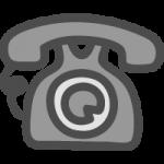 黒電話(ダイヤル式)のかわいいイラストアイコン