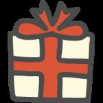 プレゼント・ギフトBOX(赤リボン)のかわいい手書き風イラストアイコン