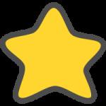 星マーク(スター)のかわいい手書き風イラストアイコン