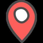 マップ(地図)の場所・位置を示すピンマーカーのかわいい手書き風イラストアイコン<赤色>