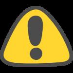 注意・ビックリマークの標識のかわいい手書き風イラストアイコン(三角形)