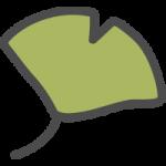 銀杏・イチョウ(緑色)のかわいい手書き風イラストアイコン