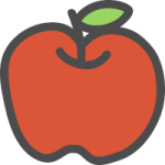 林檎(りんご)のかわいい手書き風イラストアイコン