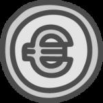 ユーロコイン・€マークのかわいい手書き風イラストアイコン<銀色・シルバー>