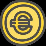 ユーロコイン・€マークのかわいい手書き風イラストアイコン<金色・ゴールド>