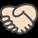 握手マークのかわいい手書き風イラストアイコン