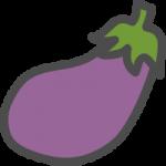 茄子(なすび)のかわいい手書き風イラストアイコン