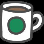 コーヒーが入ったマグカップのかわいい手書き風イラストアイコン
