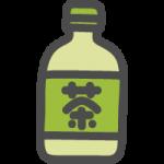 ペットボトルに入ったお茶(緑茶)のかわいい手書き風イラストアイコン