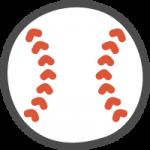 野球の硬式ボールのかわいいイラストアイコン