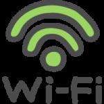 Wi-Fiの文字入りワイファイマークのかわいい手書き風イラストアイコン<緑色>