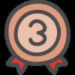 銅メダル(順位マーク・ランキング3位)のかわいい手書き風イラストアイコン