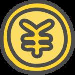 円コイン・¥マークのかわいい手書き風イラストアイコン<金色・ゴールド>