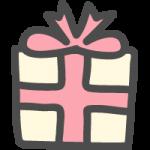 プレゼント・ギフトBOX(ピンクリボン)のかわいい手書き風イラストアイコン