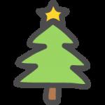 クリスマスツリー(モミの木)のかわいい手書き風イラストアイコン