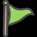 三角旗・フラッグ(緑色)のかわいい手書き風イラストアイコン