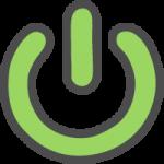 電源マーク・ボタンのかわいい手書き風イラストアイコン(緑色)
