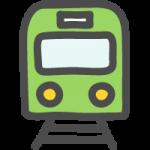 正面(前)から見た緑色の電車・鉄道のかわいい手書き風イラストアイコン