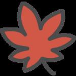 紅葉・モミジ(赤色)のかわいい手書き風イラストアイコン