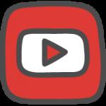 youtube(ユーチューブ)ロゴのかわいい手書き風イラストアイコン