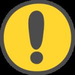 注意・ビックリマークの標識のかわいい手書き風イラストアイコン(円形・丸型)