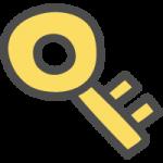 鍵マーク(キーロック)のかわいい手書き風イラストアイコン