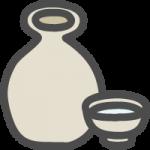 日本酒・熱燗(徳利とお猪口)のかわいい手書き風イラストアイコン