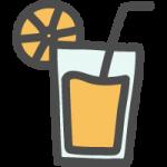 グラスに入ったオレンジジュースのかわいい手書き風イラストアイコン