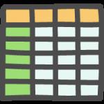 エクセル風表計算ソフトのかわいい手書き風イラストアイコン