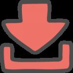 ダウンロード矢印(赤色・ピンク)のかわいい手書き風イラストアイコン