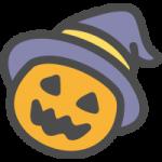 [ハロウィン]帽子をかぶったカボチャ(パンプキン)のかわいい手書き風イラストアイコン
