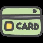 クレジットカード・キャッシュカードのかわいい手書き風イラストアイコン<黄緑色>