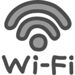 Wi-Fiの文字入りワイファイマークのかわいい手書き風イラストアイコン<黒色>