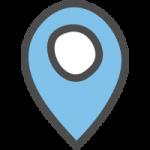 マップ(地図)の場所・位置を示すピンマーカーのかわいい手書き風イラストアイコン<青色>
