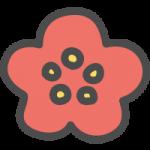 梅(ウメ)の花のかわいい手書き風イラストアイコン