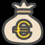 お金の袋(€・ユーロ)のかわいい手書き風イラストアイコン