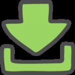 ダウンロード矢印(緑色)のかわいい手書き風イラストアイコン