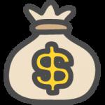 お金の袋($・ドル)のかわいい手書き風イラストアイコン