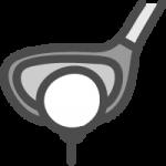 ゴルフボールとクラブ(ドライバー)のかわいい手書き風イラストアイコン