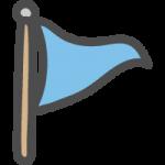 三角旗・フラッグ(青色・水色)のかわいい手書き風イラストアイコン