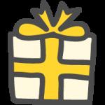 プレゼント・ギフトBOX(黄色リボン)のかわいい手書き風イラストアイコン